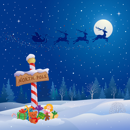 Illustration pour Vector illustration of Santa Claus sleigh - image libre de droit