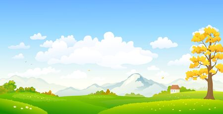 Illustration for Vector cartoon drawing of a colorful autumn scenery - Royalty Free Image
