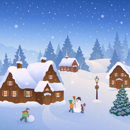 Illustration pour Snowy town scene with kids building snowmen - image libre de droit