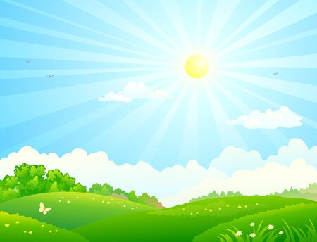 Illustration pour Vector illustration of green fields and sunny sky - image libre de droit