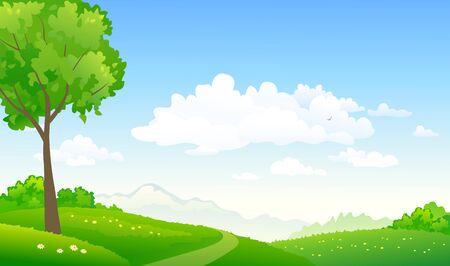 Illustration pour Vector illustration of green hills path and sky background - image libre de droit