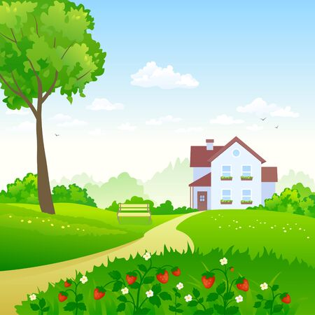 Illustration pour Vector illustration of a green garden with a strawberry meadow - image libre de droit