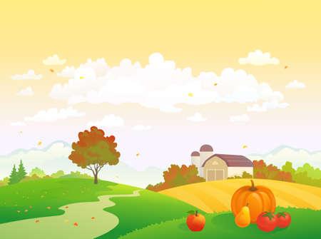 Illustration for Vector illustration of an autumn harvest scene, Thanksgiving farm landscape - Royalty Free Image