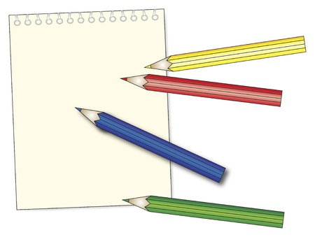 blanck notepad with pastel