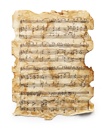 Photo pour Vintage music sheet isolated on white background - image libre de droit