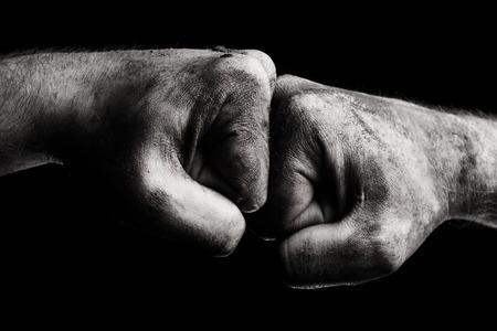 Photo pour Resistance. Dirty male clenched fist - image libre de droit