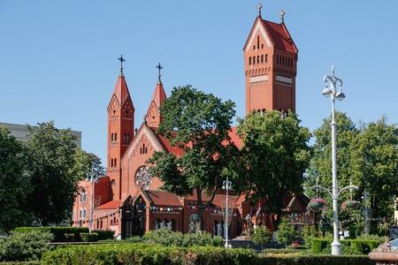 Catholic red chapel St Simon and St Elena. Minsk. Belarus.