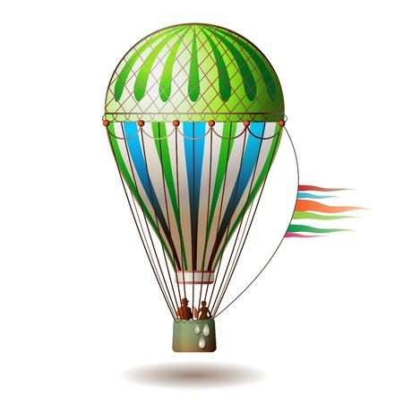 Colorful hot air balloon with silhouettes isolated on white background