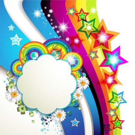 Ilustración de Colorful background with stars and drops - Imagen libre de derechos