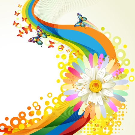 Colorful background with butterflies and flower