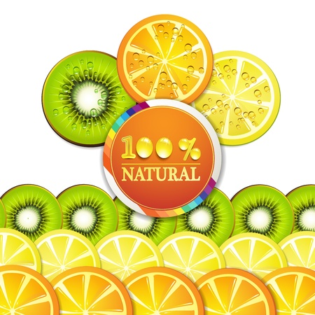 Background with slice of orange, kiwi, and lemon with percentage quality