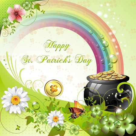 St. Patrick s Day card design with clover and coins