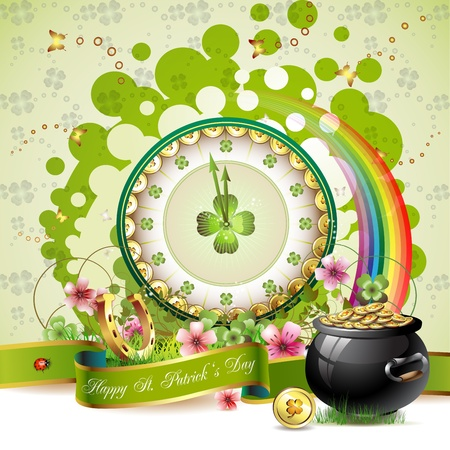St. Patrick s Day card design with clock and coins
