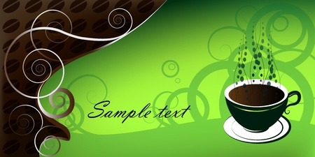 Cup of coffee, illustration on green background