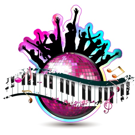 Piano keys with dancing silhouettes and disco ball