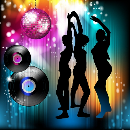 Disco ball and dancing silhouettes