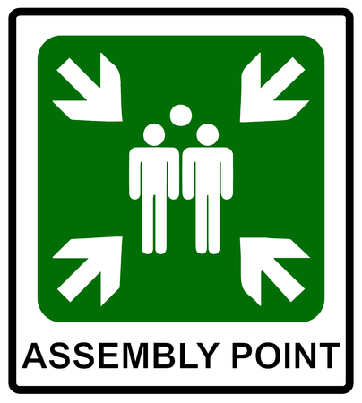 Illustration pour Vector fire emergency icons. Signs of evacuations. Fire assembly point. - image libre de droit