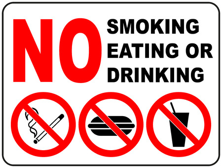 Vektor für Prohibition Signs for Smoking, Eating and Drinking General prohibition symbol sticker for public places Vector illustration - Lizenzfreies Bild