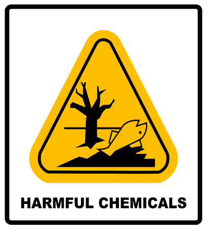Illustration pour GHS hazard pictogram in yellow triangle - harmful chemicals keep out hazardous to aquatic environment , hazard warning danger banner , isolated vector illustration - image libre de droit