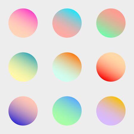 Photo pour Round gradient set with modern abstract backgrounds. Colorful fluid covers for calendar, brochure, invitation, cards. Trendy soft color. Template with round gradient set for screens and mobile app. - image libre de droit