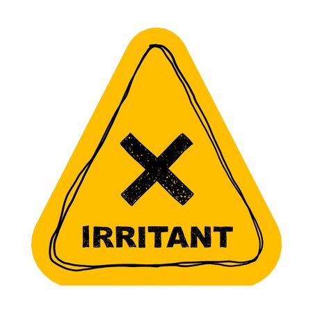 Illustration pour Yellow irritant triangle sign. Vector illustration isolated on white. - image libre de droit