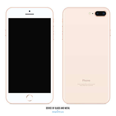 Illustration pour smartphone pink color with black screen front and back side view isolated on white background. stock vector illustration - image libre de droit
