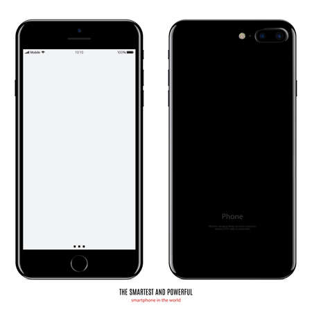 Illustration pour smartphone black color with blank screen front and back side view isolated on white background. - image libre de droit