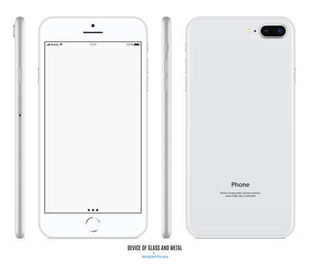 Illustration pour smartphone silver color with blank screen front, back and side view isolated on white background. stock vector illustration eps10 - image libre de droit