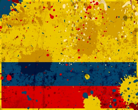 Grunge Colombia flag with stains - flag series