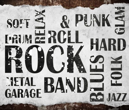 Rock Music Word Collage Mural Wallpaper