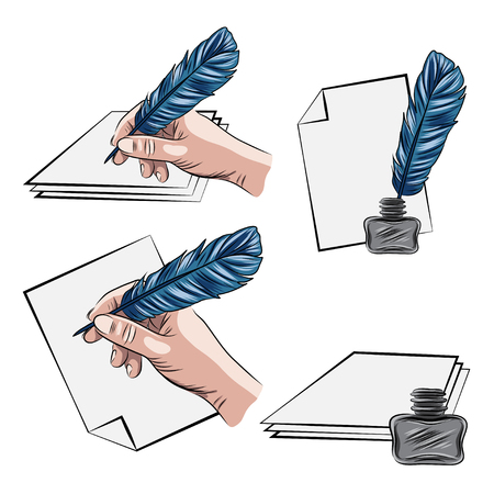 vector illustrations of hand holding feather pen aand inkpot