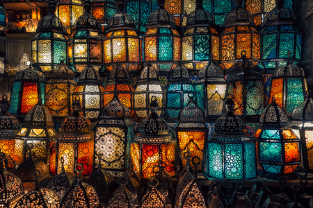 Photo for lighting with colors on muslim style's lantern shining - Royalty Free Image