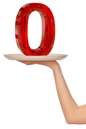 big red number zero on the tray