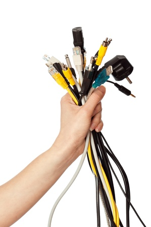 woman taking different cables in the hand