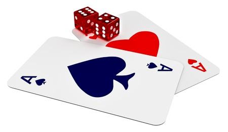 two ace cards and two dices in the casino