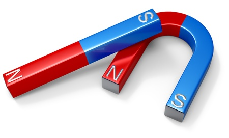 Horseshoe magnets with red northern and blue southern poles on white