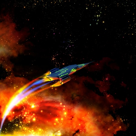 The red-hot spaceship is speeding up its movement and keeping away from a dangerous nebula