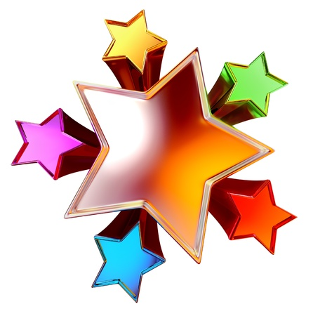 top view of a colorful shining stars in the motion