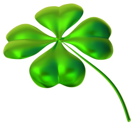 glossy four-leaf clover as international traditional symbol of good luck and fortune