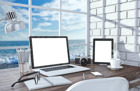 3D illustration laptopand work stuff on table near brick wall, Workspace