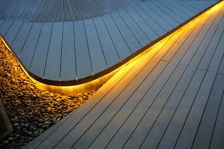 Photo pour Top View of Illuminated Wooden Stair Background. - image libre de droit