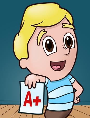 Little Boy Shows off Good Grade
