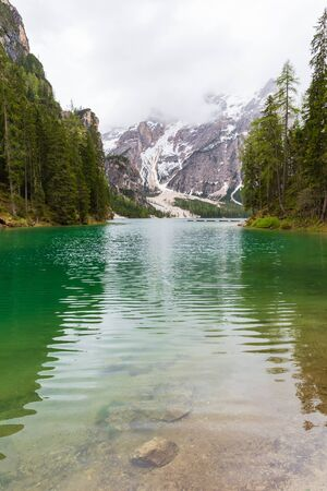 Foto de Landscape at Lake Braies or Pragser Wildsee located in Dolomites area, Italy. - Imagen libre de derechos