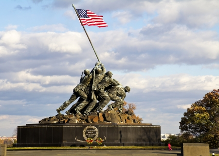 Iwo Jima Memorial in Wash DC, USA  Memorial dedicated to all personnel of United States Marine Corps who have died in defense of their country since 1775