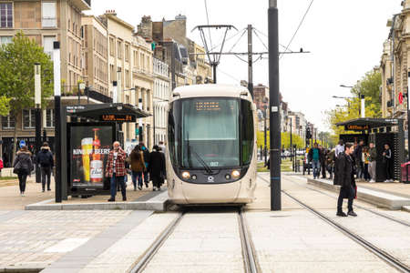 Le Havre, France : Modern city tram. Le Havre tram network consists of 2 lines and 23 stations