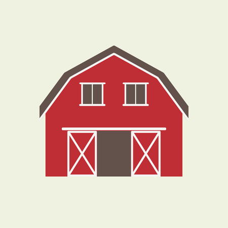 Illustration for Barn house icon or sign isolated on white background. Vector illustration of red farm house. - Royalty Free Image