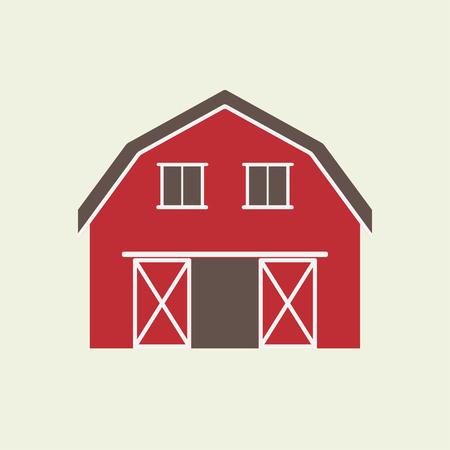 Ilustración de Barn house icon or sign isolated on white background. Vector illustration of red farm house. - Imagen libre de derechos