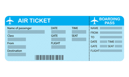 Ilustración de Airline boarding pass ticket isolated on white background. Detailed blank of airplane ticket. Vector illustration. - Imagen libre de derechos