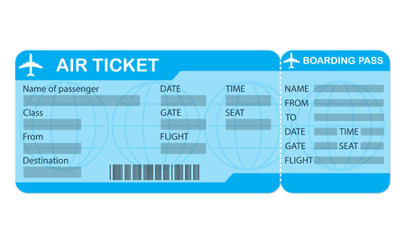 Ilustración de Airplane ticket. Blue boarding pass coupon isolated on white background. Detailed blank of plane ticket. Vector illustration. - Imagen libre de derechos