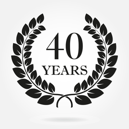 Ilustración de 40 years anniversary laurel wreath sign or emblem. Template for celebration and congratulation design. Vector 40th anniversary label isolated on white background. - Imagen libre de derechos